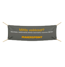 Banderollit, teippaukset, kyltit, suurkuva Turku