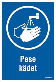 Pese kädet ohjekilpi